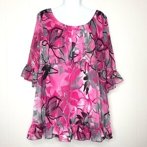 STUDIO 1940 Pink Floral 3/4 Sleeve Top Size 18/20W